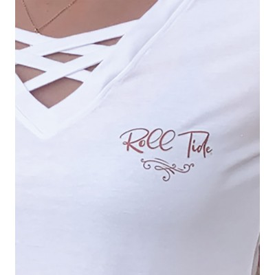 White Caged Front Tee