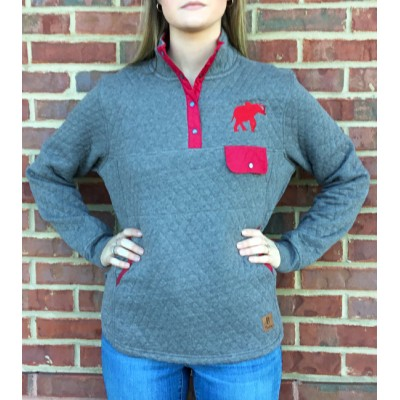 Elephant Grey Quilted Pullover
